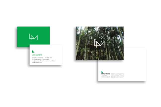 ontwerp logo en postkaart Lieve Marneffe - fotografie en webdesign - Miet Marneffe - grafische vormgeving