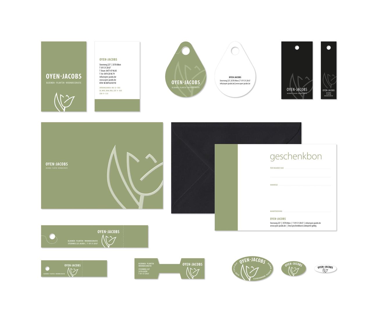 Ontwerp logo en huisstijl Oyen-Jacobs door miet Marneffe